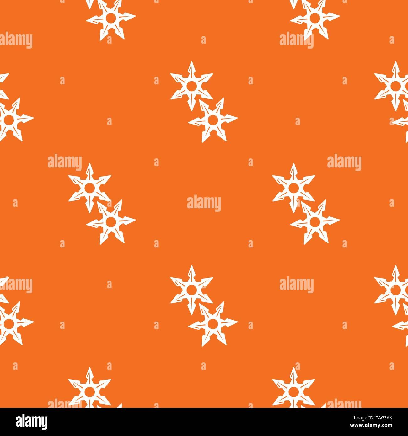 Ninja stars pattern vector orange - Stock Image