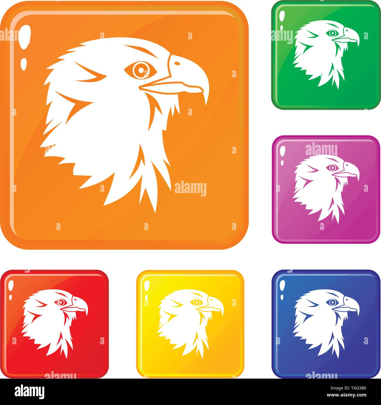 Eagle icons set vector color - Stock Image