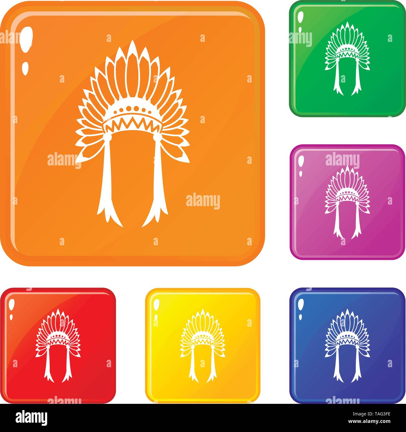Indian headdress icons set vector color - Stock Image