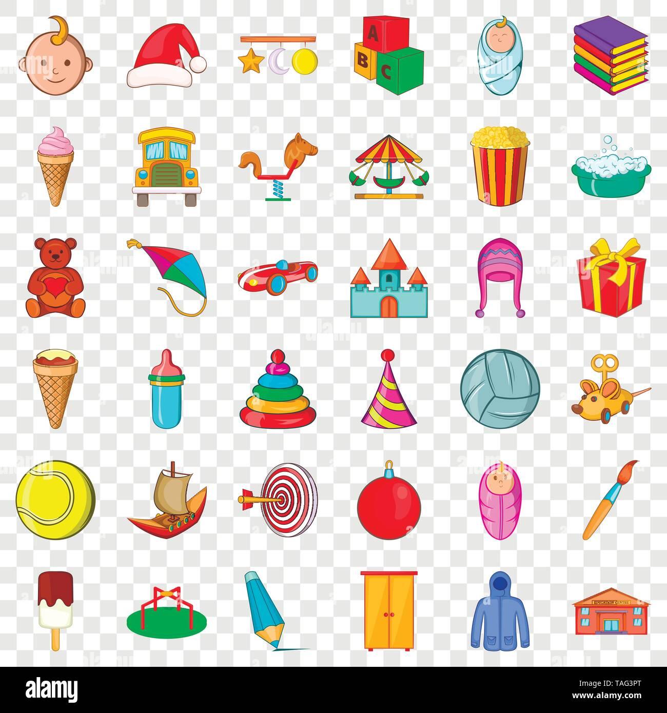 Carousel icons set, cartoon style - Stock Image