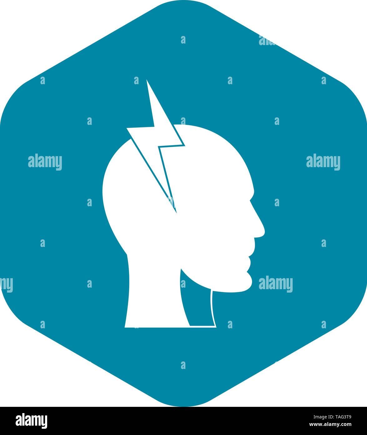 Lightning bolt inside head icon, simple style - Stock Image