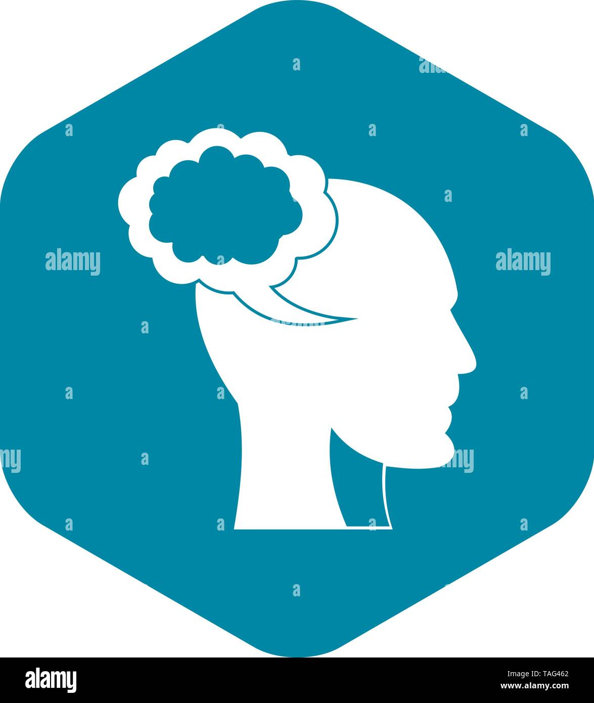 Speech bubble with human head icon, simple style - Stock Image