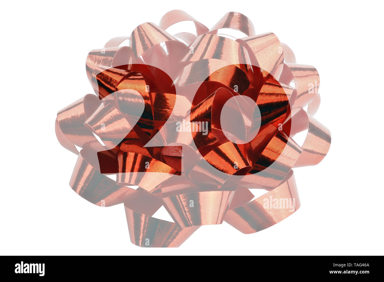 Image of a lightened gift loop made of red gift ribbon with transparent number 20 in original color - Stock Image