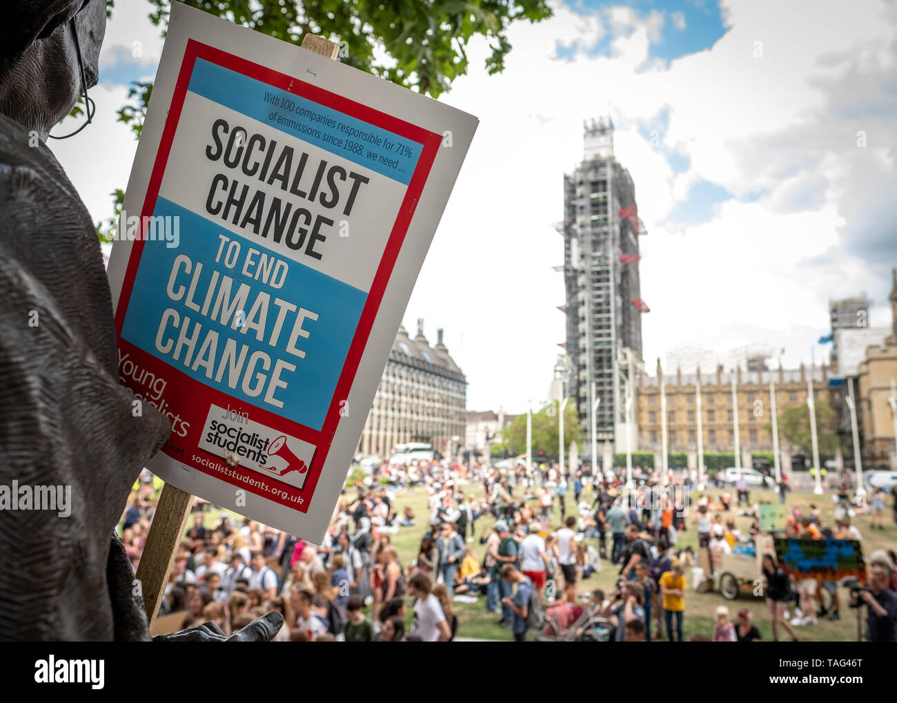 London- May 2019: Extinction rebellion  protest on Parliament Square Stock Photo