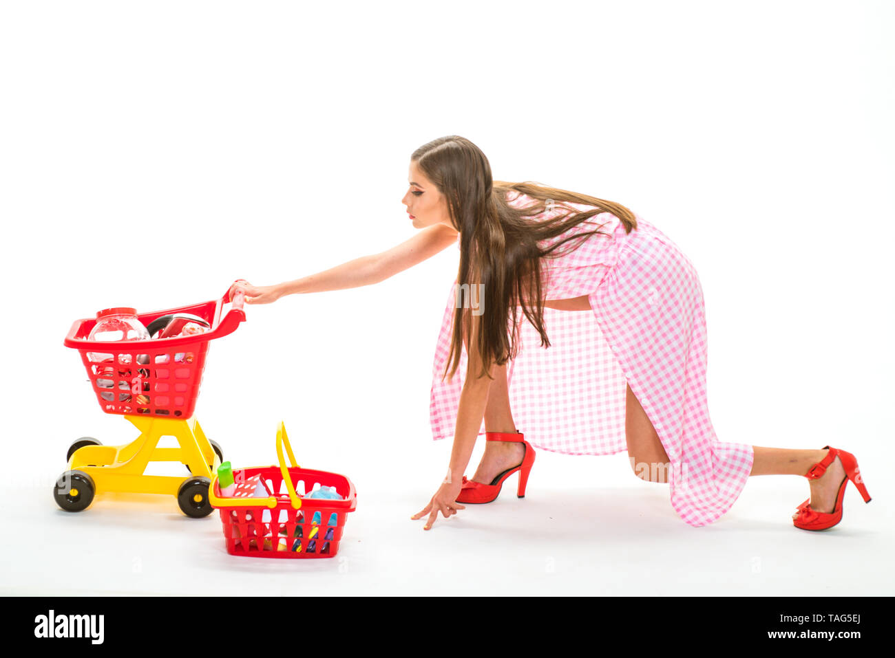 woman going to make payment in supermarket. shopping girl with full cart. retro woman go shopping. savings on purchases vintage housewife woman isolat Stock Photo