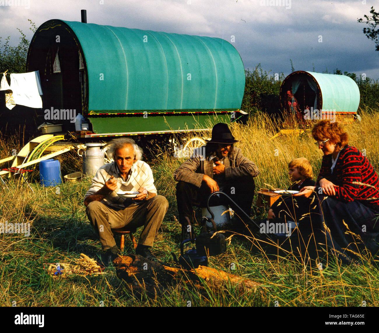 Romany Traveller family 1980 - Stock Image