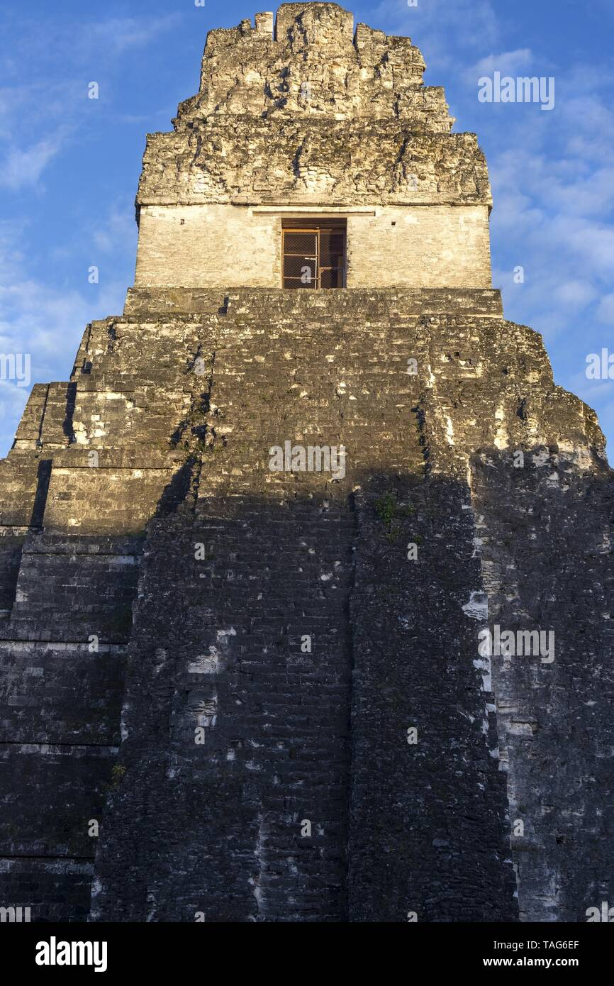 Jaguar Temple Citadel Ancient Mayan Civilization Ruin at Plaza Central in World Famous Tikal National Park in Guatemala, a UNESCO World Heritage Site - Stock Image