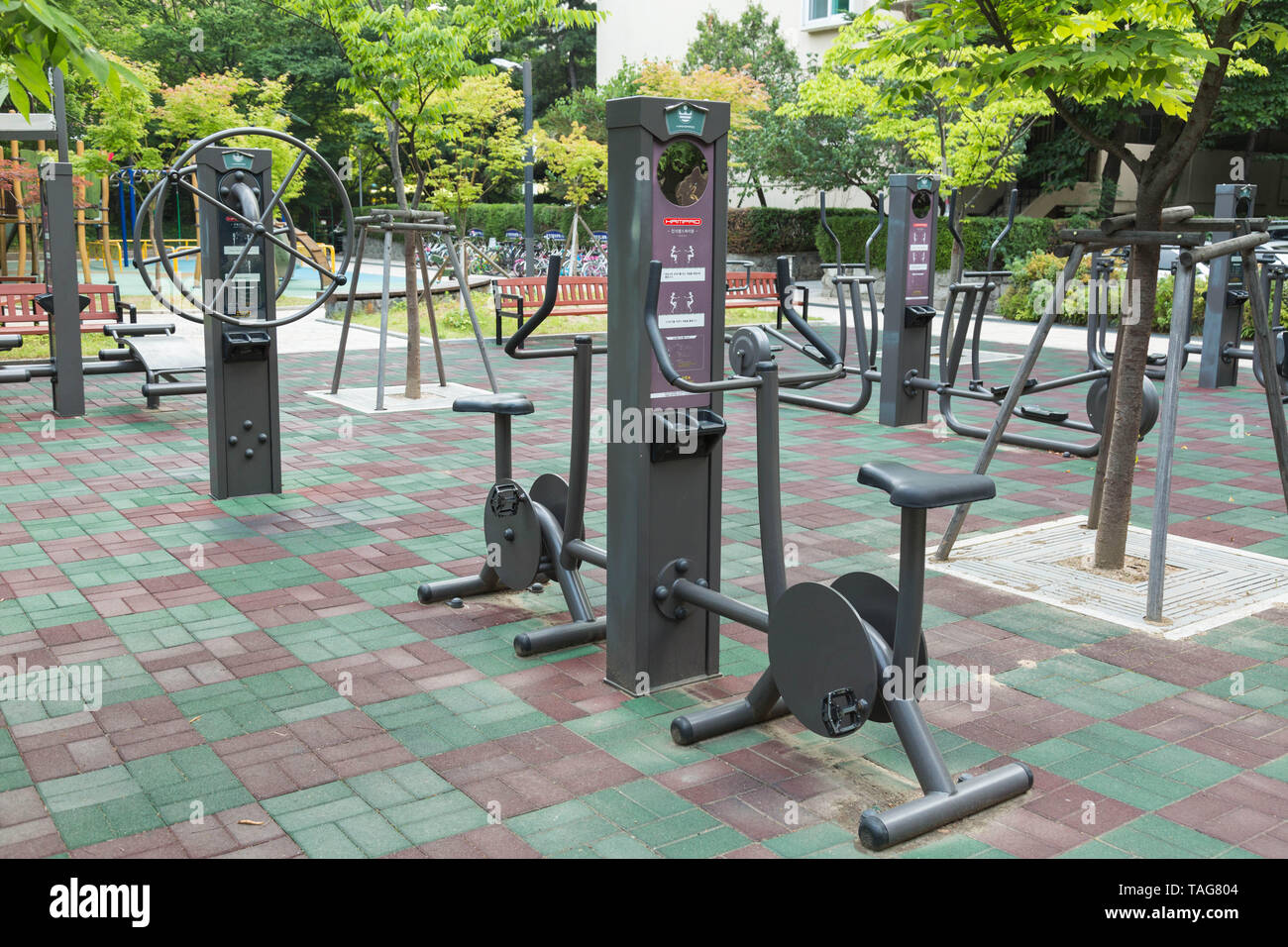 Various exercise equipment for public to use at most of parks in cities, popular among elderly people .  Seoul, South Korea. - Stock Image