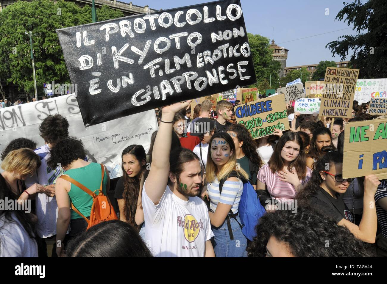 Milan (Italy), 24 May 2019, 'Global Strike for Future' youth and student demonstration, in protest against climate change and global warming - Stock Image
