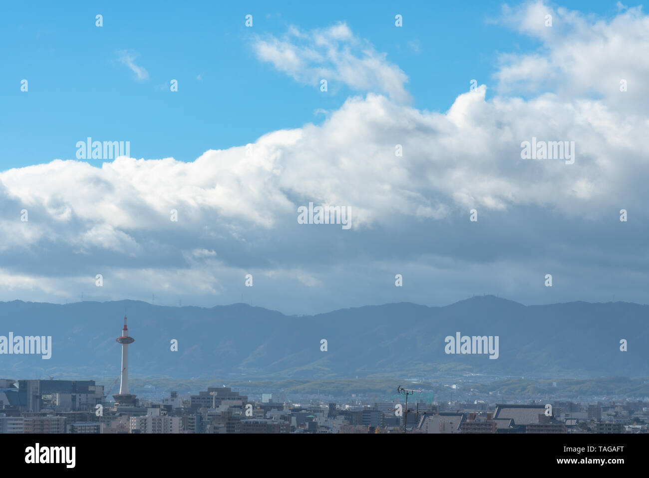 Kyoto city skyline with Kyoto Tower in the morning Stock Photo