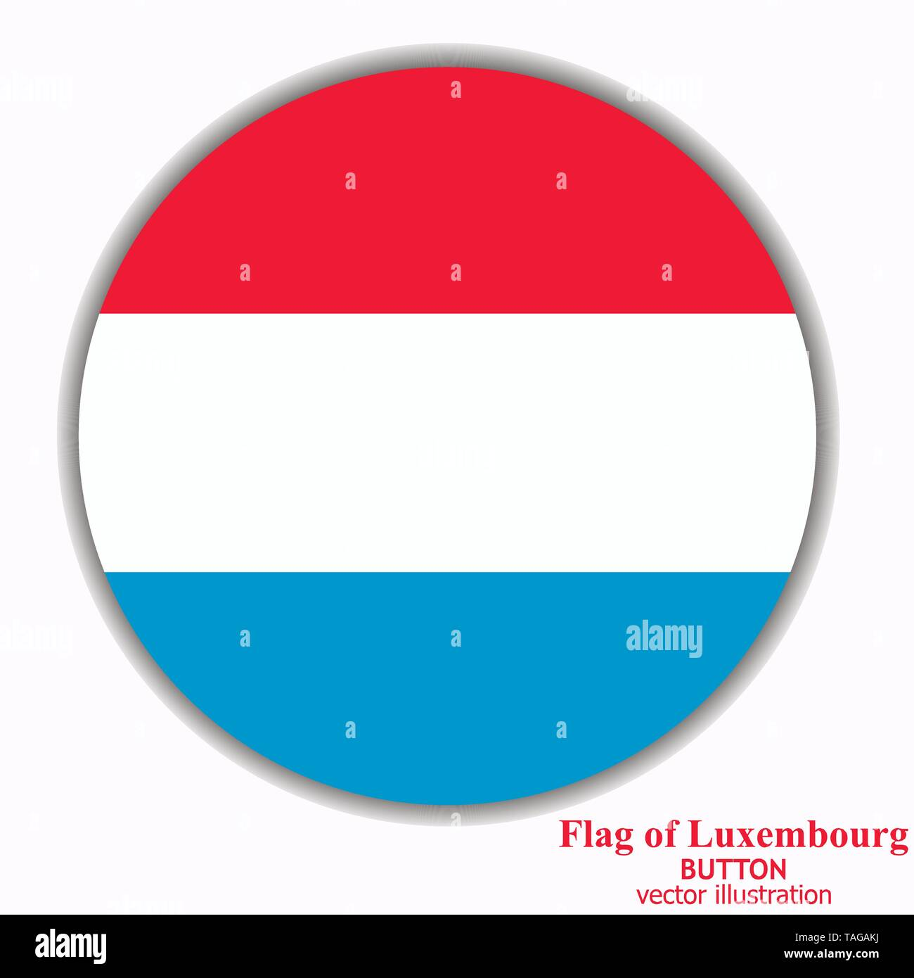 Button with flag of Luxembourg. Colorful illustration with flag for web design. Illustration with white background. - Stock Image