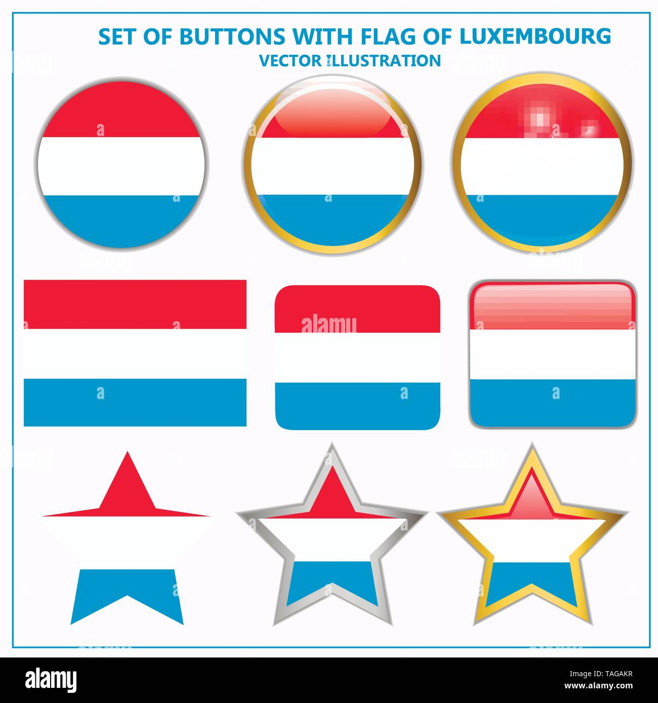 Colorful illustration buttons with flag of Luxembourg. Bright illustration with flag for web design. Vector. - Stock Image