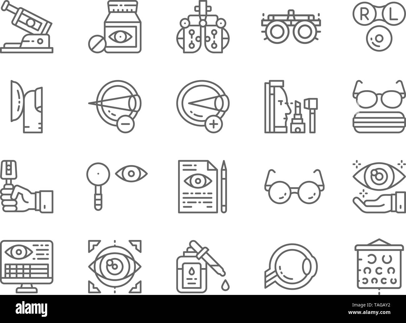 Set of Optometry Line Icons. Vitamins, Optical Clinic, Eye Surgery and more. - Stock Image