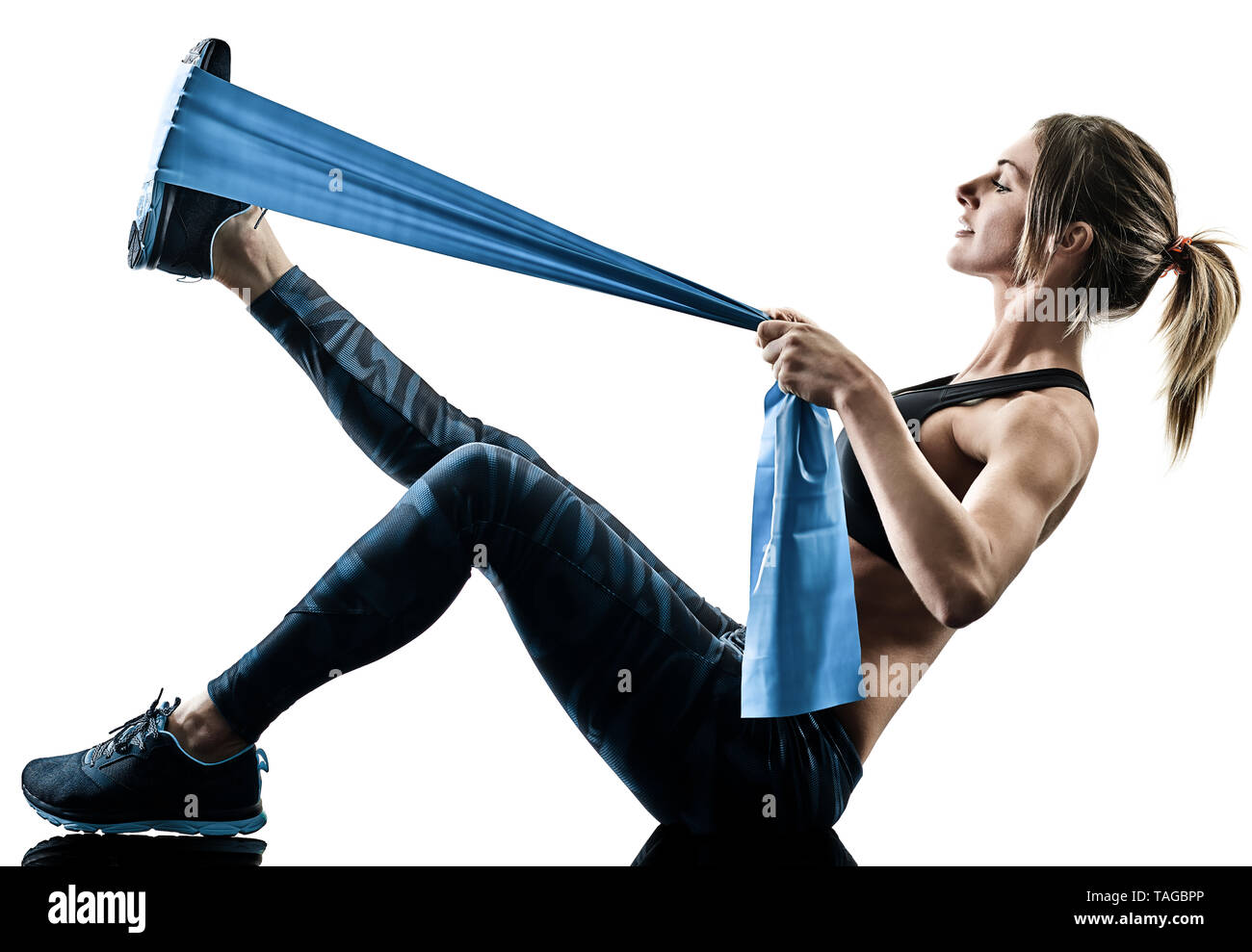 Abs Resistance Band Woman High Resolution Stock Photography And