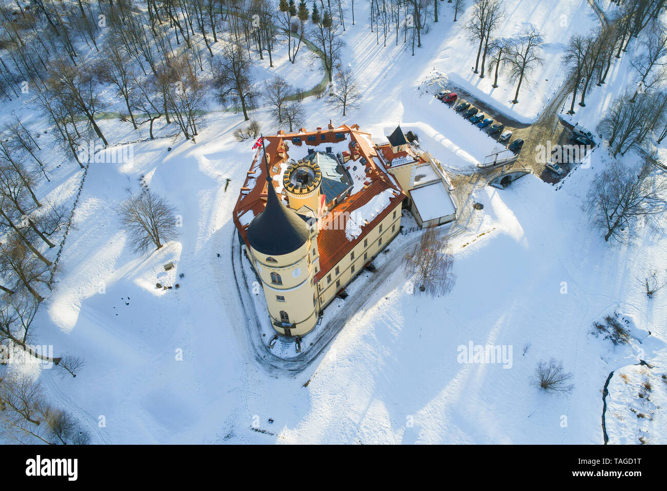 View from above of the Bip Castle (Mariental) on a sunny February day. Pavlovsk, St. Petersburg - Stock Image