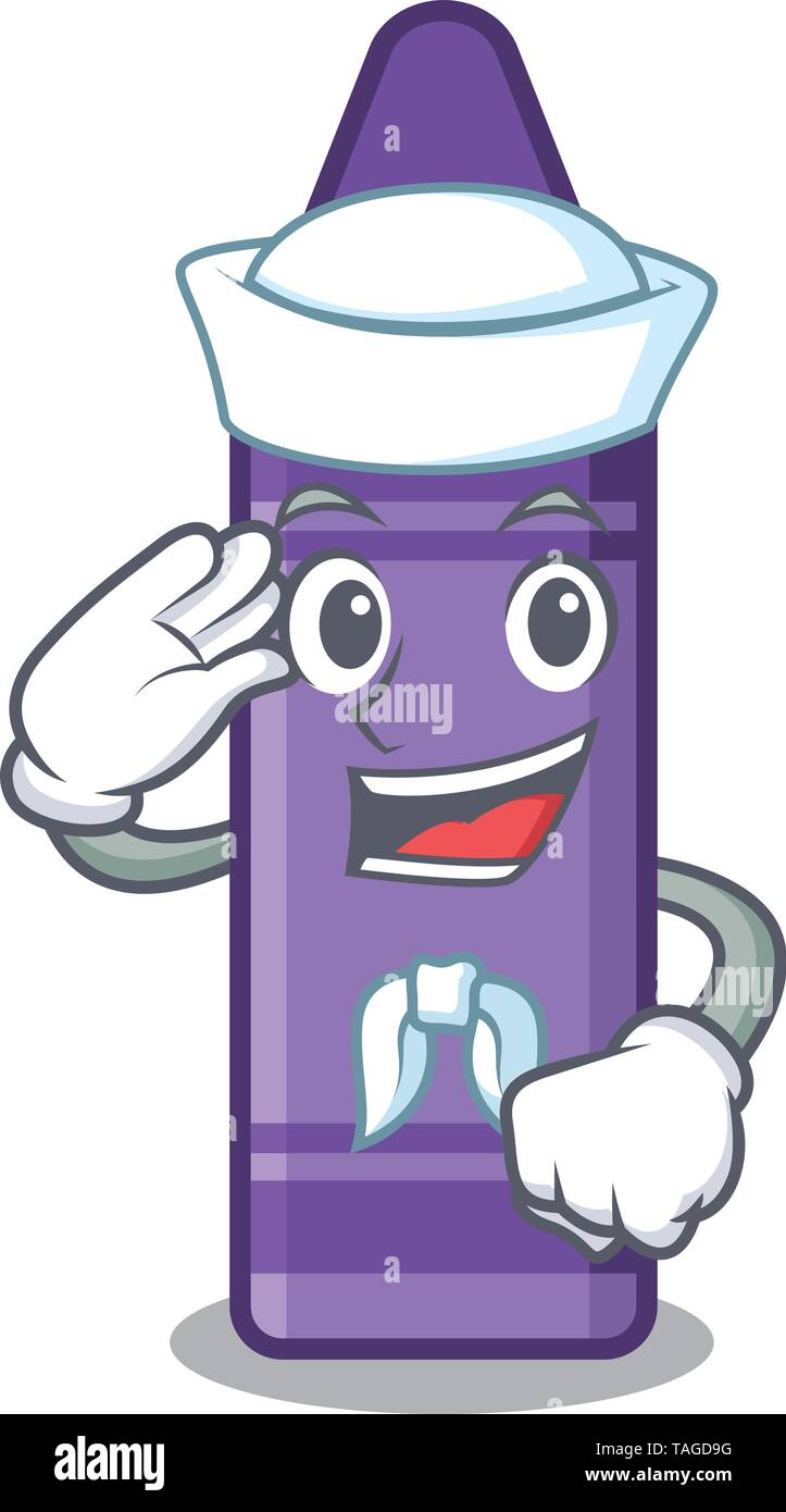 Sailor purple crayon above the cartoon book - Stock Image