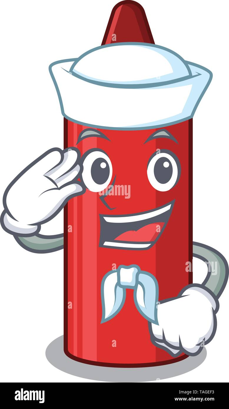 Sailor red crayon isolated with the mascot - Stock Image