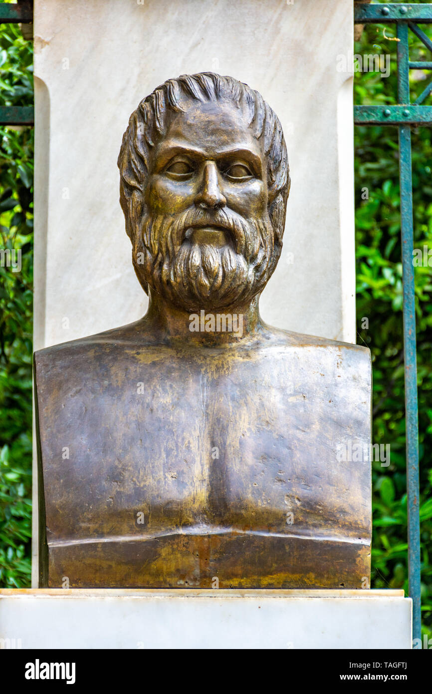 The bronze statue of the Greek tragic poet Euripides located near the Syntagma square in Athens, Greece Stock Photo