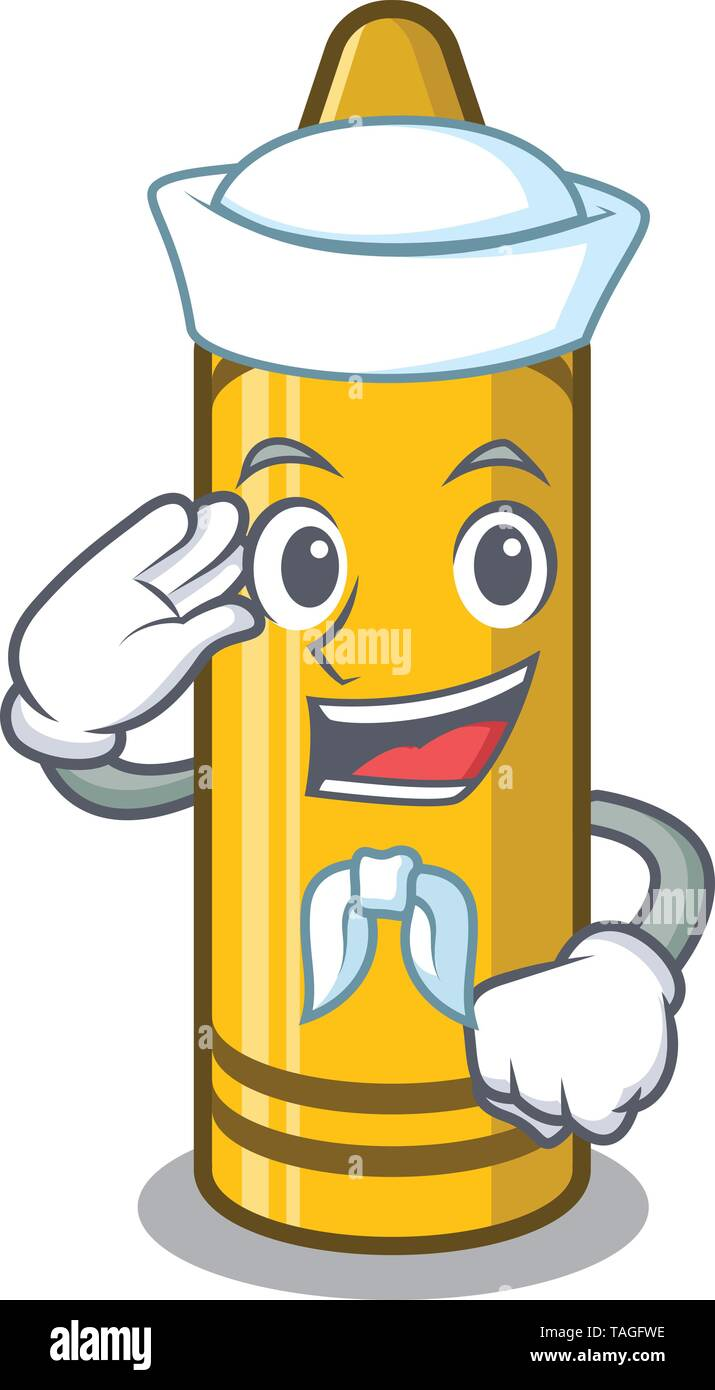 Sailor yellow crayon in the character chair - Stock Image