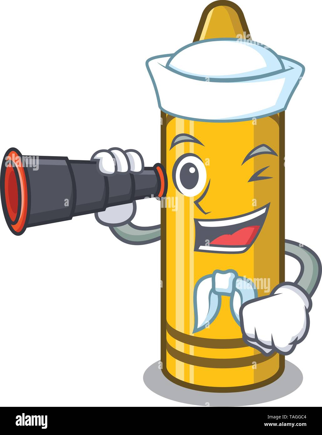 Sailor with binocular yellow crayon in the cartoon wallet - Stock Image