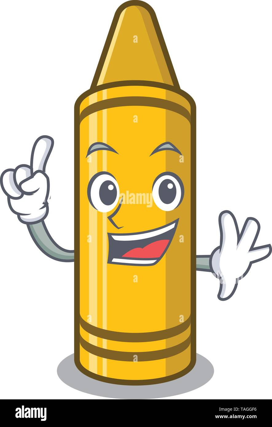 Finger yellow crayon isolated in the mascot - Stock Image