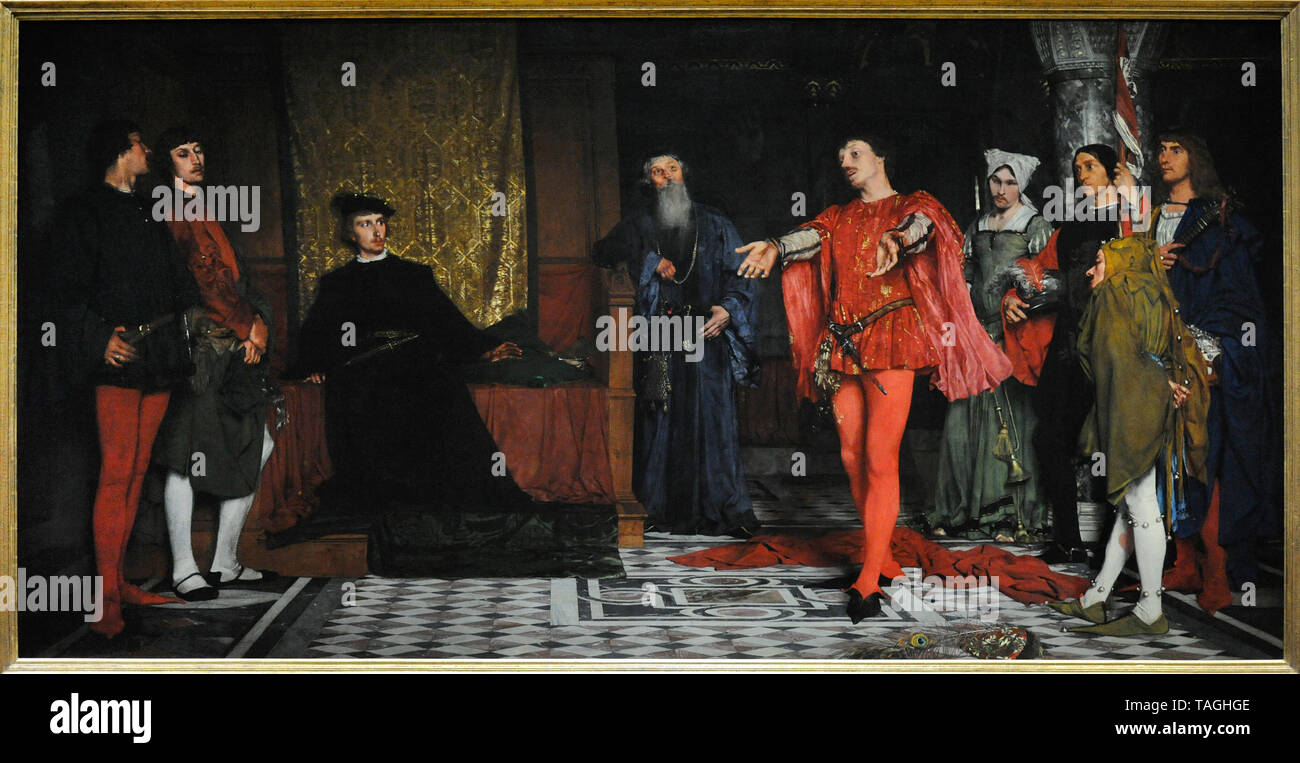 Wladyslaw Czachorski (1850-1911). Polish painter. Actors in front of Hamlet, 1872-1875. National Museum. Warsaw. Poland. - Stock Image