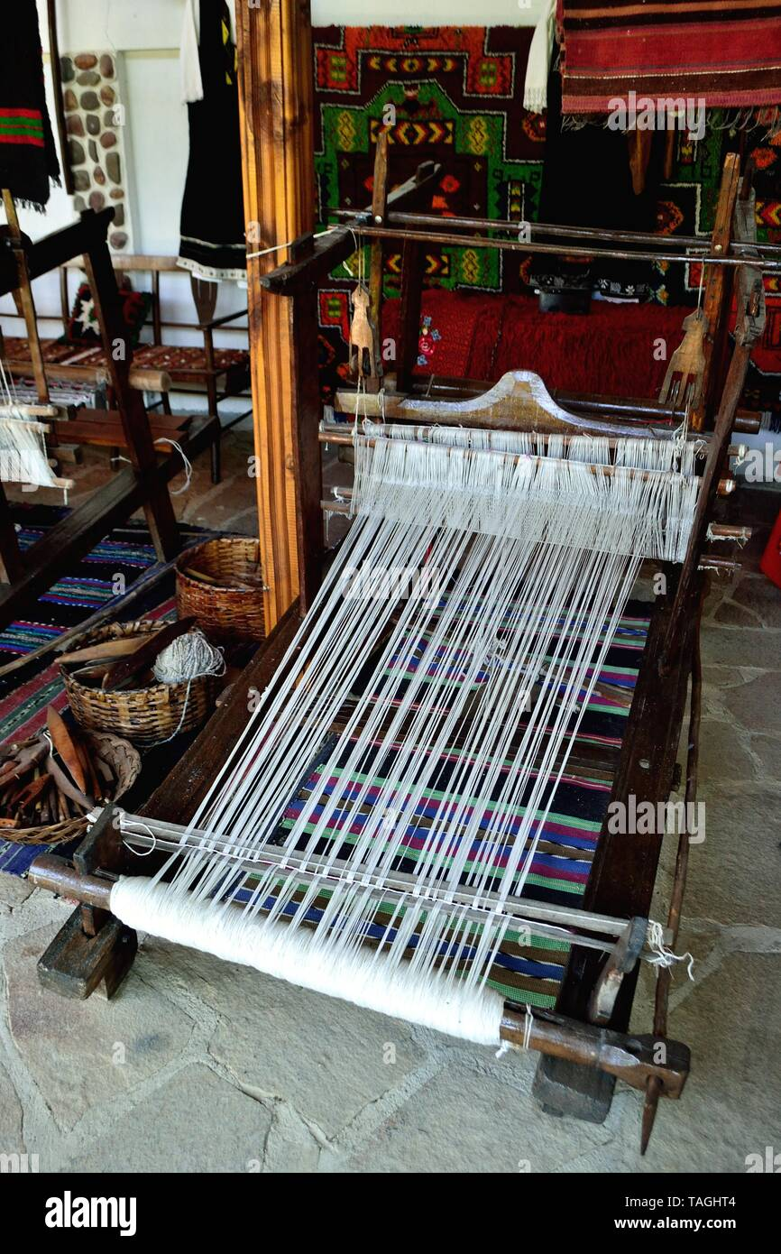 Traditional loom-  Ethnographic complex Damascena Rose in KAZANLAK. Province of Stara Zagora.BULGARIA     											  					  			 	  	  			 	    	 - Stock Image