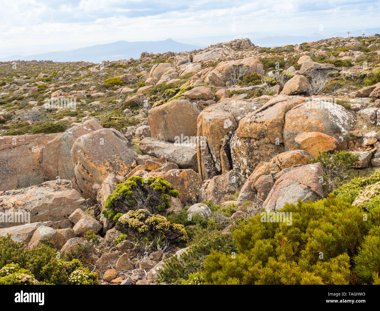 A plateau on Mount Wellington in the southeast coastal region of Tasmania, Australia. At the foothills of the mountain is much of Hobart, the capital  Stock Photo