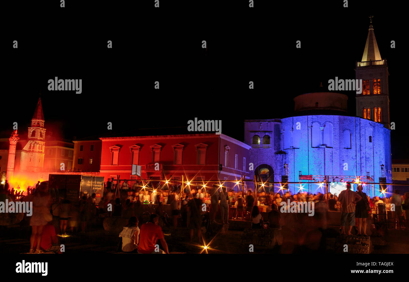 ZADAR, CROATIA - AUGUST 18, 2015: Night photo of Church of St. Donat and forum in Zadar, Croatia during the celebration of the fiftieth birthday of fa - Stock Image