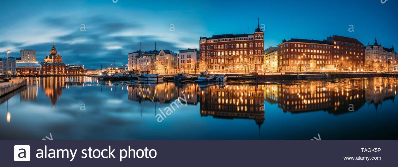 Helsinki, Finland - December 9, 2016: Panoramic View Of Kanavaranta Street With Uspenski Cathedral And Pohjoisranta Street In Evening Night Illuminati - Stock Image