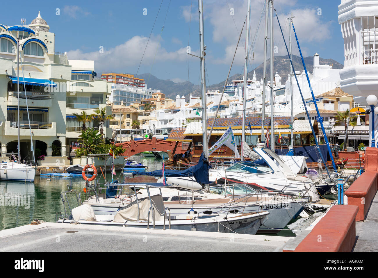 Ostentatious and well-heeled marina resort of Benalmádena, Costa Del Sol, Spain - Stock Image