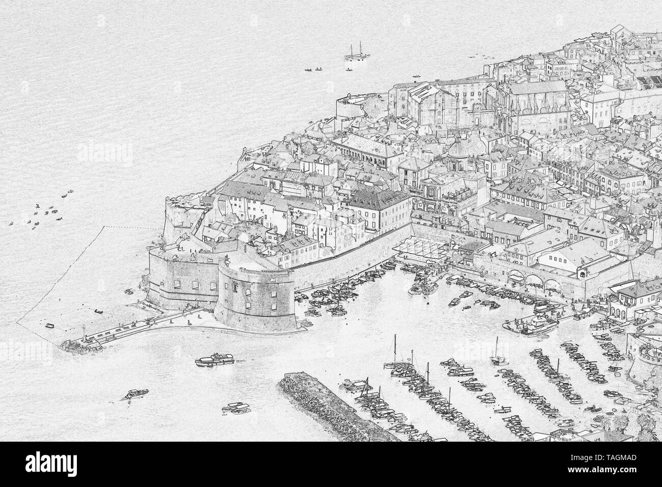 Aerial view of The Old Town of Dubrovnik, Croatia, edit with trace contour filter - Stock Image