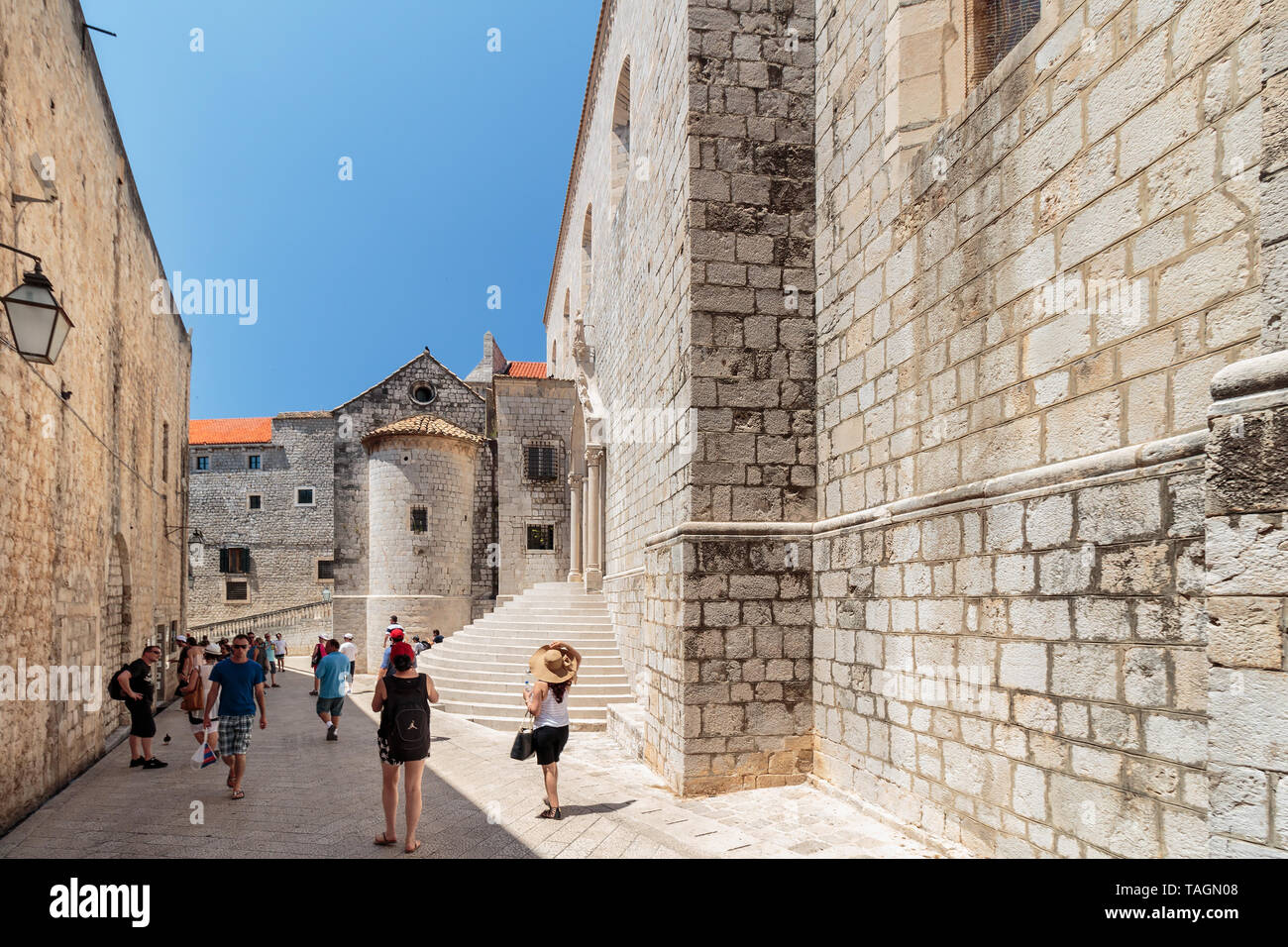 DUBROVNIK, CROATIA - JULY 13, 2016: Summer scene of the path leading to Ploce Gate and St. Sebastian church entrance steps in city of Dubrovnik, Croat - Stock Image