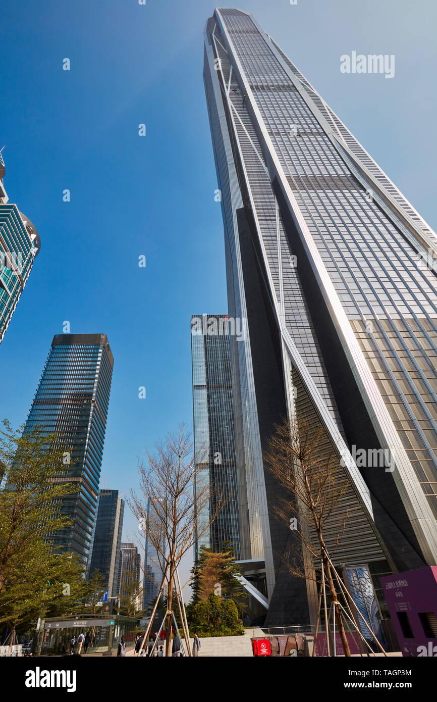 Ping An International Finance Centre, a 599 meters high skyscraper in Futian CBD. Shenzhen, Guangdong Province, China. - Stock Image