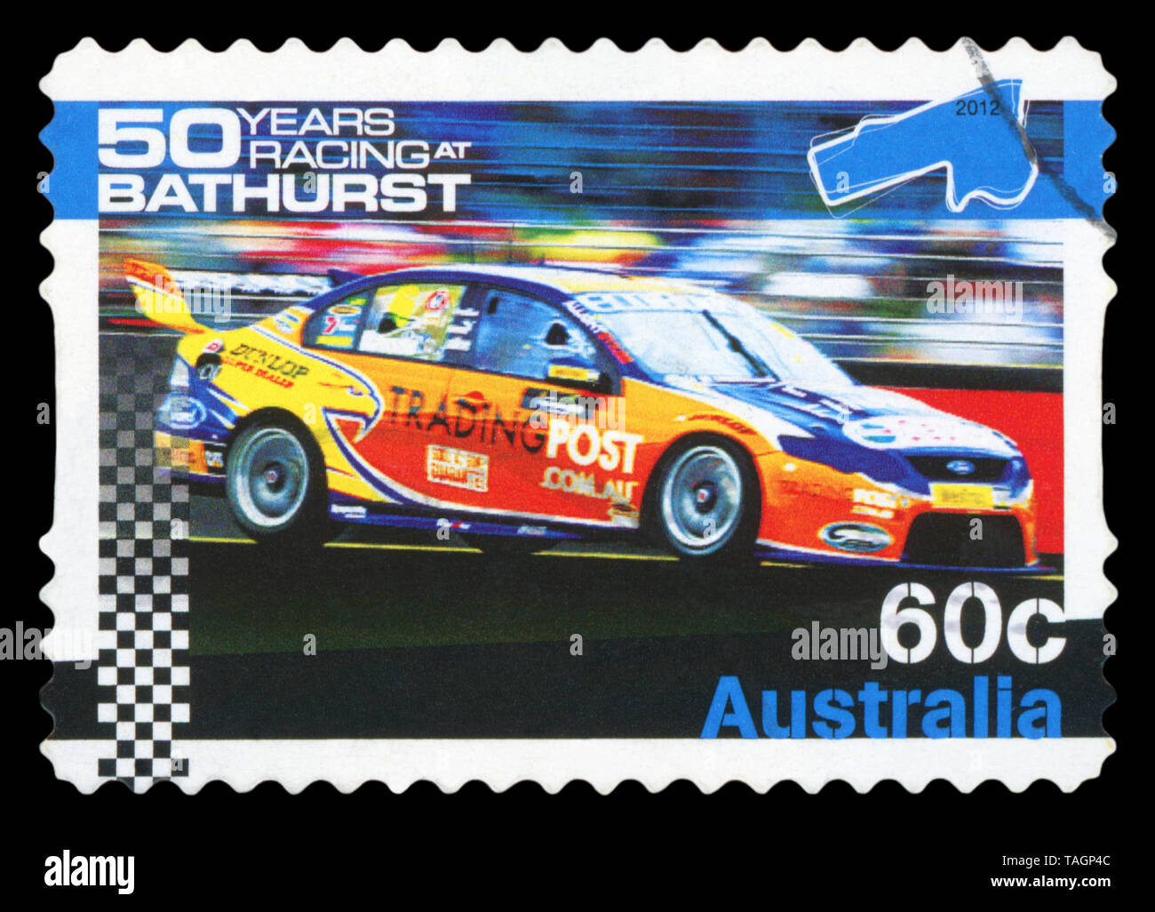 AUSTRALIA - CIRCA 2012: A stamp printed in Australia shows the 50 years racing at BATHURST, series, circa 2012. - Stock Image