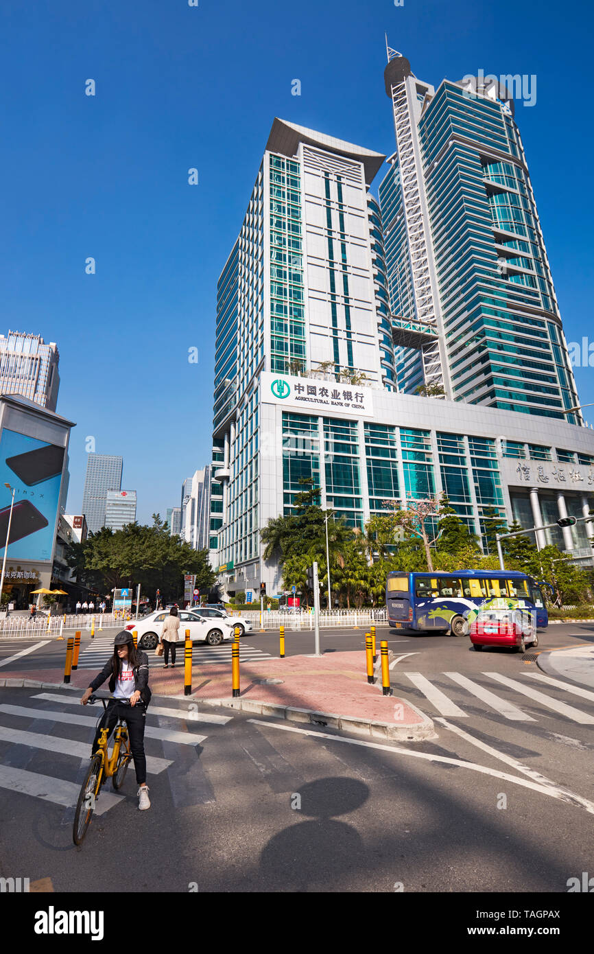Pedestrian crossing in Futian Central Business District. Shenzhen, Guangdong Province, China. - Stock Image
