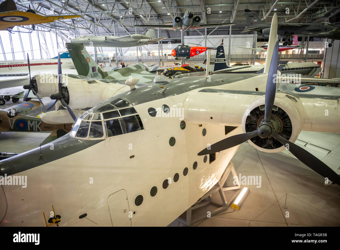 World War Two Short Sunderland flying boat at the Imperial War Museum, Duxford, Cambridgeshire, UK - Stock Image