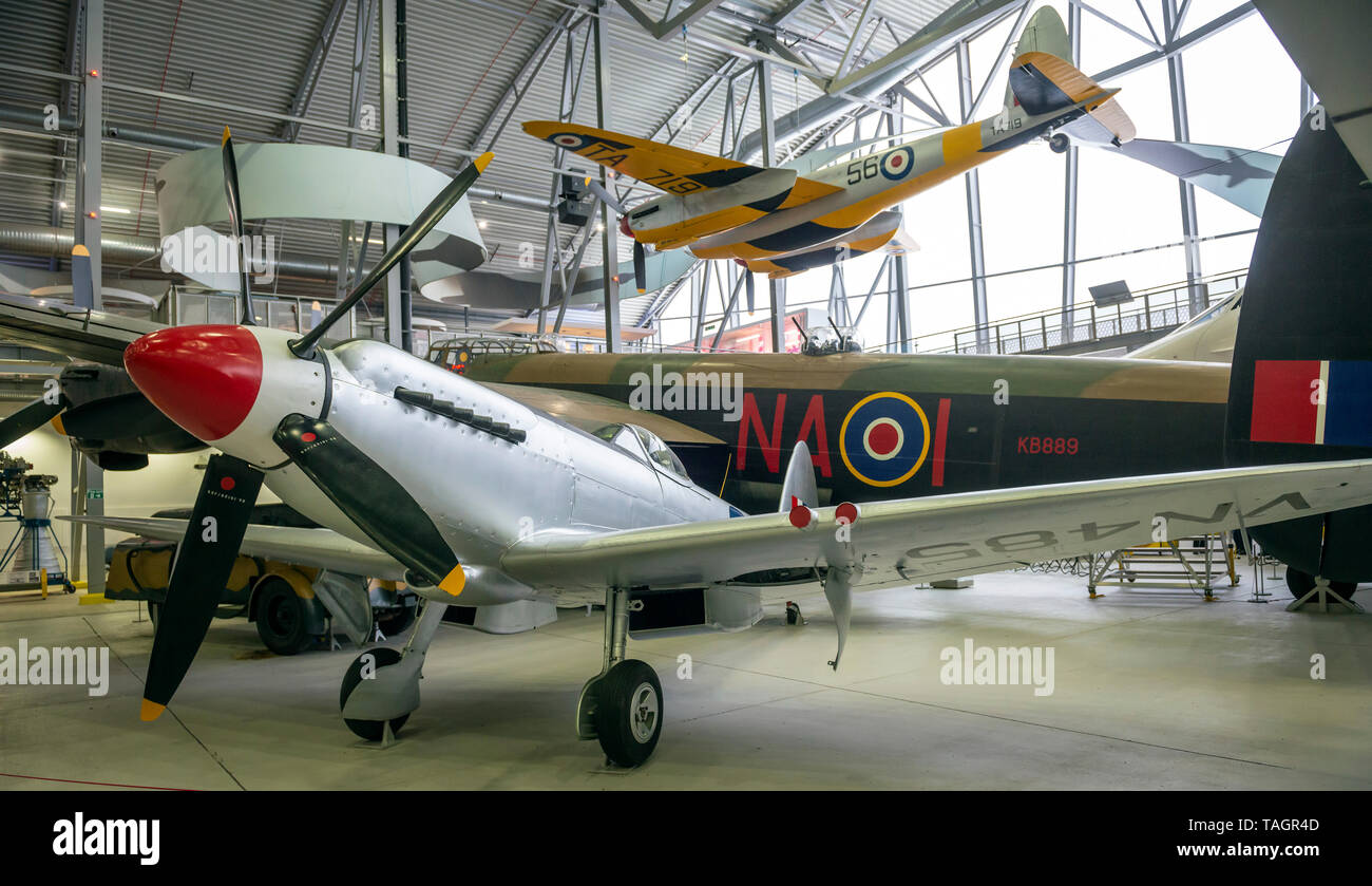 One of the last production post war Supermarine Spitfire Mk24(?) fighter planes at the Imperial War Museum, Duxford, Cambridgeshire, UK - Stock Image