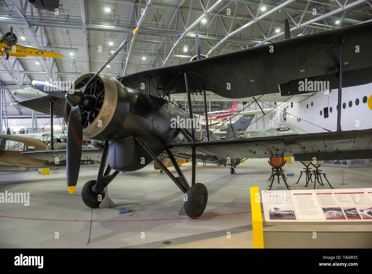 World War Two Fairey Swordfish biplane at the Imperial War Museum, Duxford, Cambridgeshire, UK - Stock Image