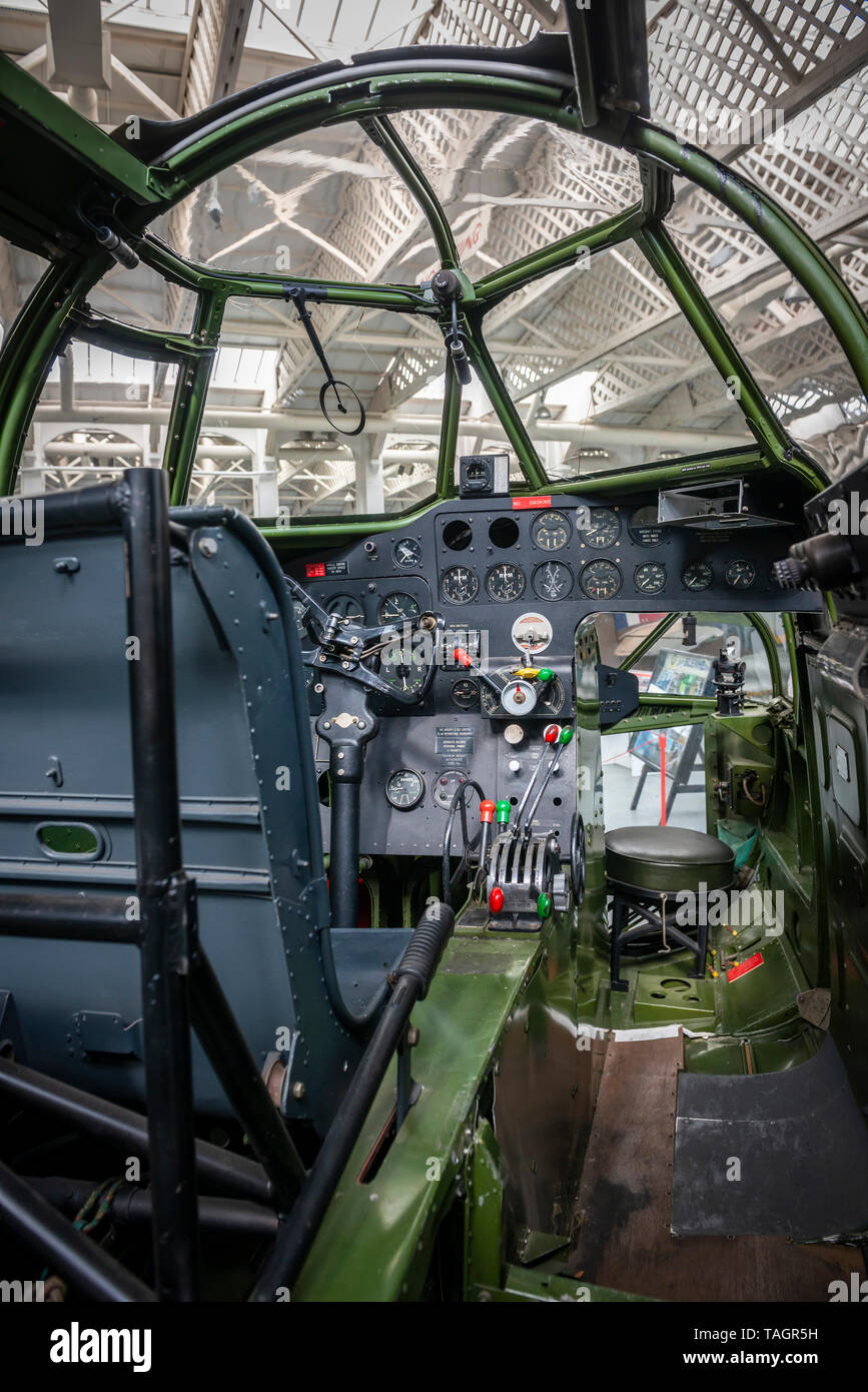 Cockpit interior of a World War Two Bristol Blenheim light bomber at the Imperial War Museum, Duxford, Cambridgeshire, UK - Stock Image