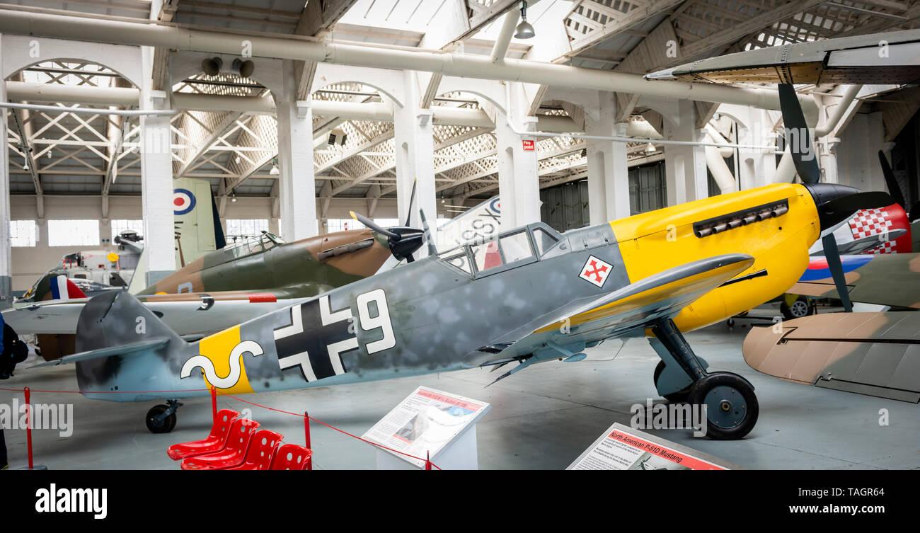 World War Two Messerschmitt Bf 109 German fighter plane at the Imperial War Museum, Duxford, Cambridgeshire, UK - Stock Image