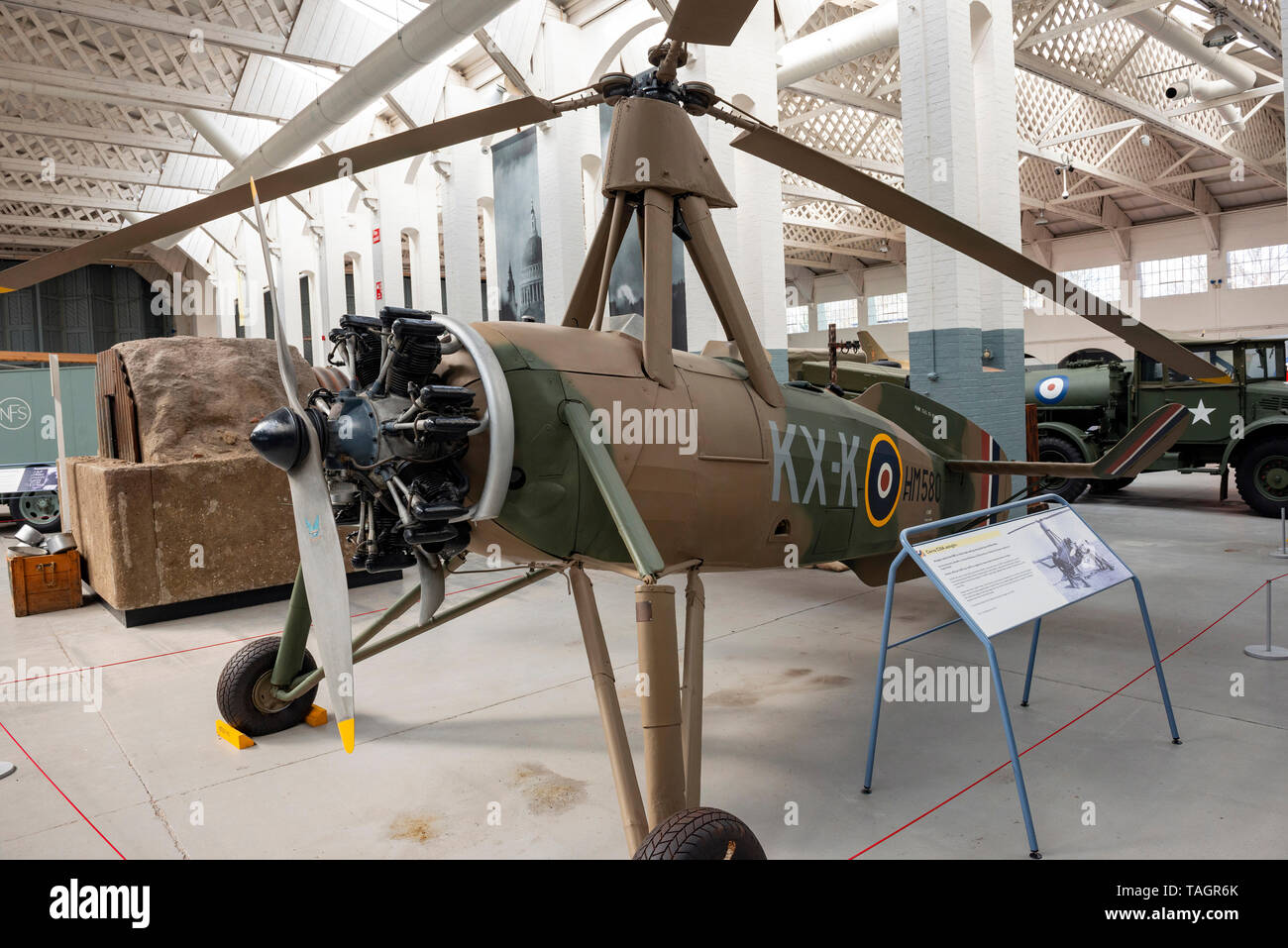 World War Two Cierva C.30A Rota I autogiro at the Imperial War Museum, Duxford, Cambridgeshire, UK - Stock Image