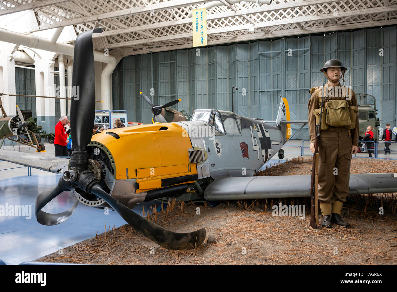World War Two Messerschmitt Bf 109 German fighter plane at the Imperial War Museum, Duxford, Cambridgeshire, UK - Stock Image
