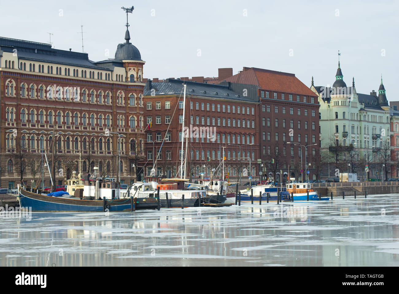 HELSINKI, FINLAND - MARCH 08, 2019: A cloudy March day on the Northern Embankment - Stock Image