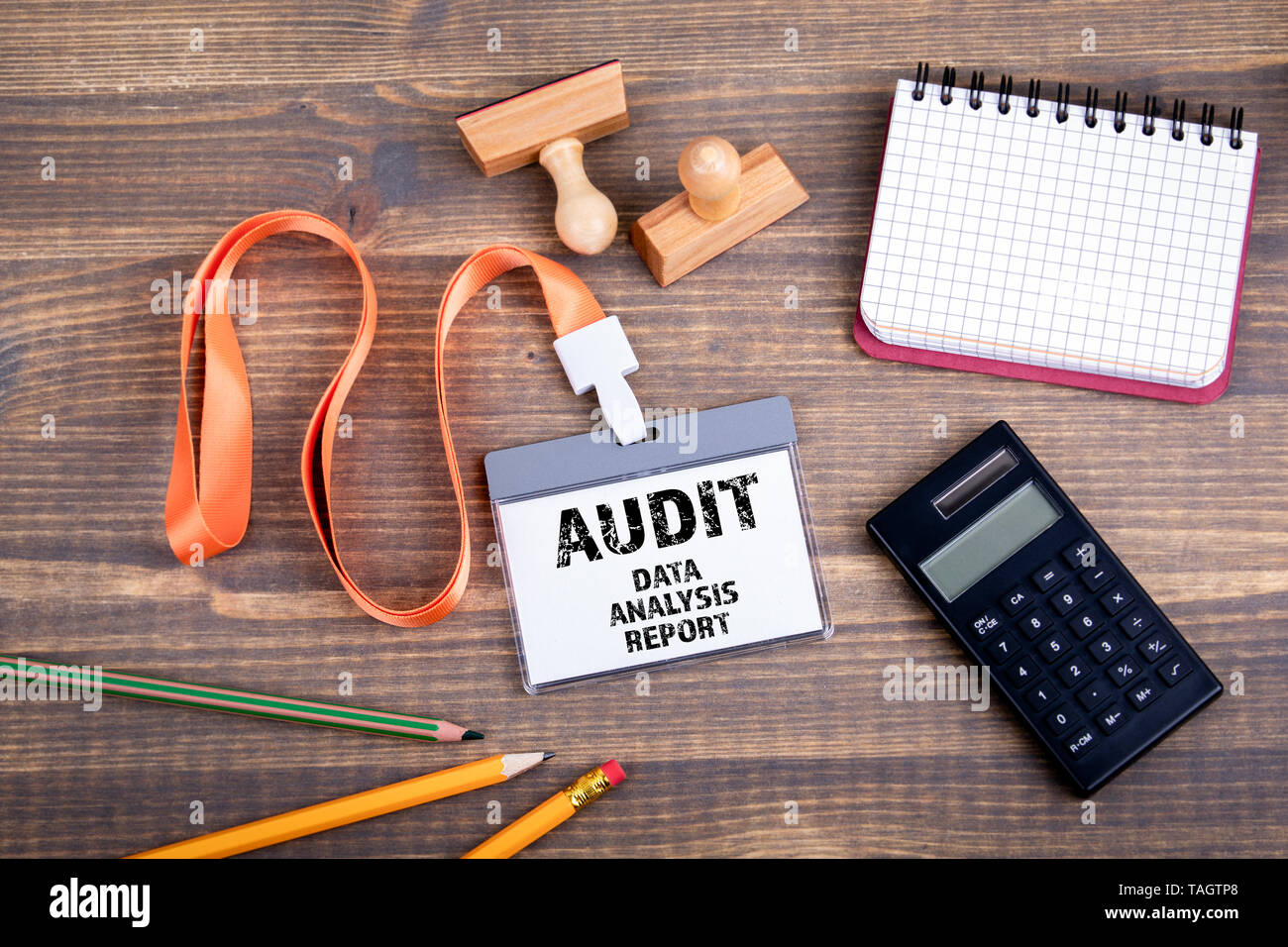 Audit, data, analysis and report. Identification card with text - Stock Image