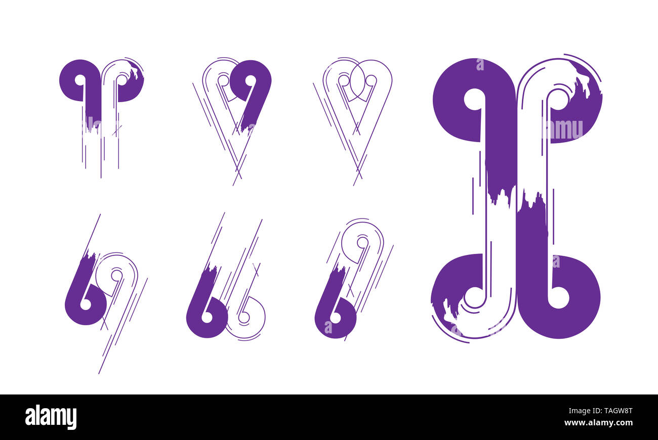 Number And Letter Creative Logotype Concept Collection in Vector. Modern abstract Design and logo elements in Violet Color. - Stock Image