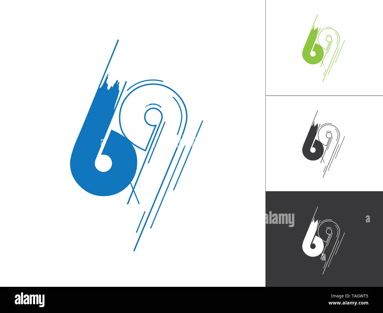 Initial Number 69 Logotype Line Sketch Concept in Vector. Modern Style Number Logo Designs Elements in Blue and Green Color. Number 69 Inside This Des - Stock Image