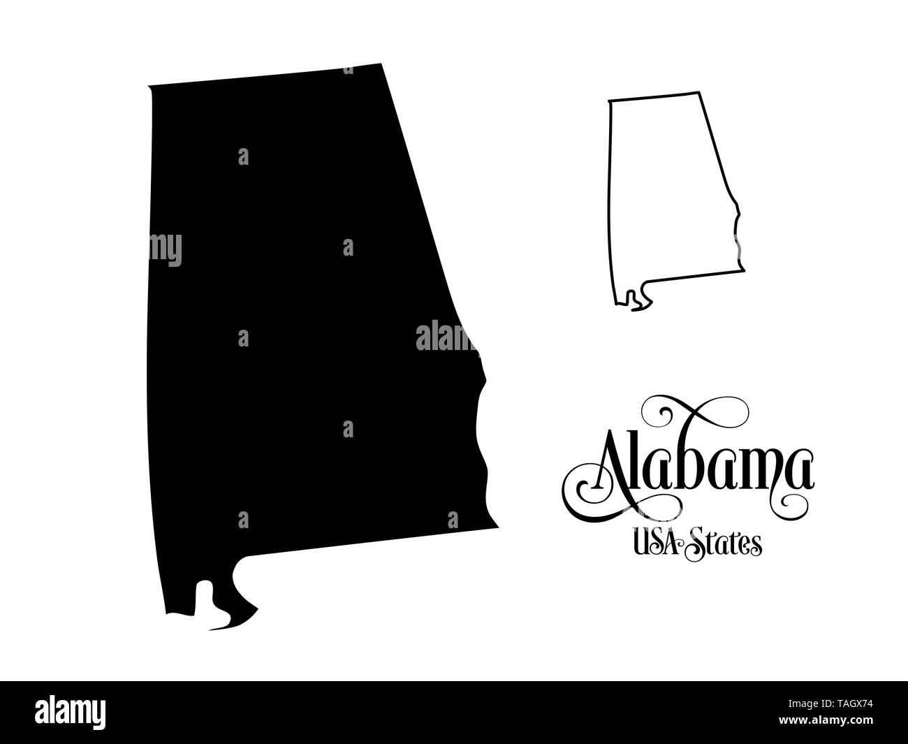 Map of The United States of America (USA) State of Alabama ...