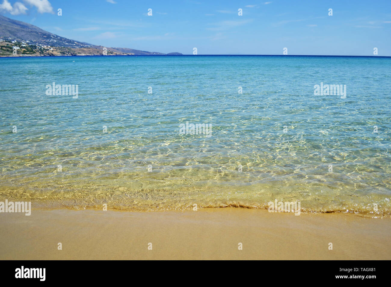 landscape of Chrisi Ammos beach - means Golden Sand - in Andros island Greece Stock Photo