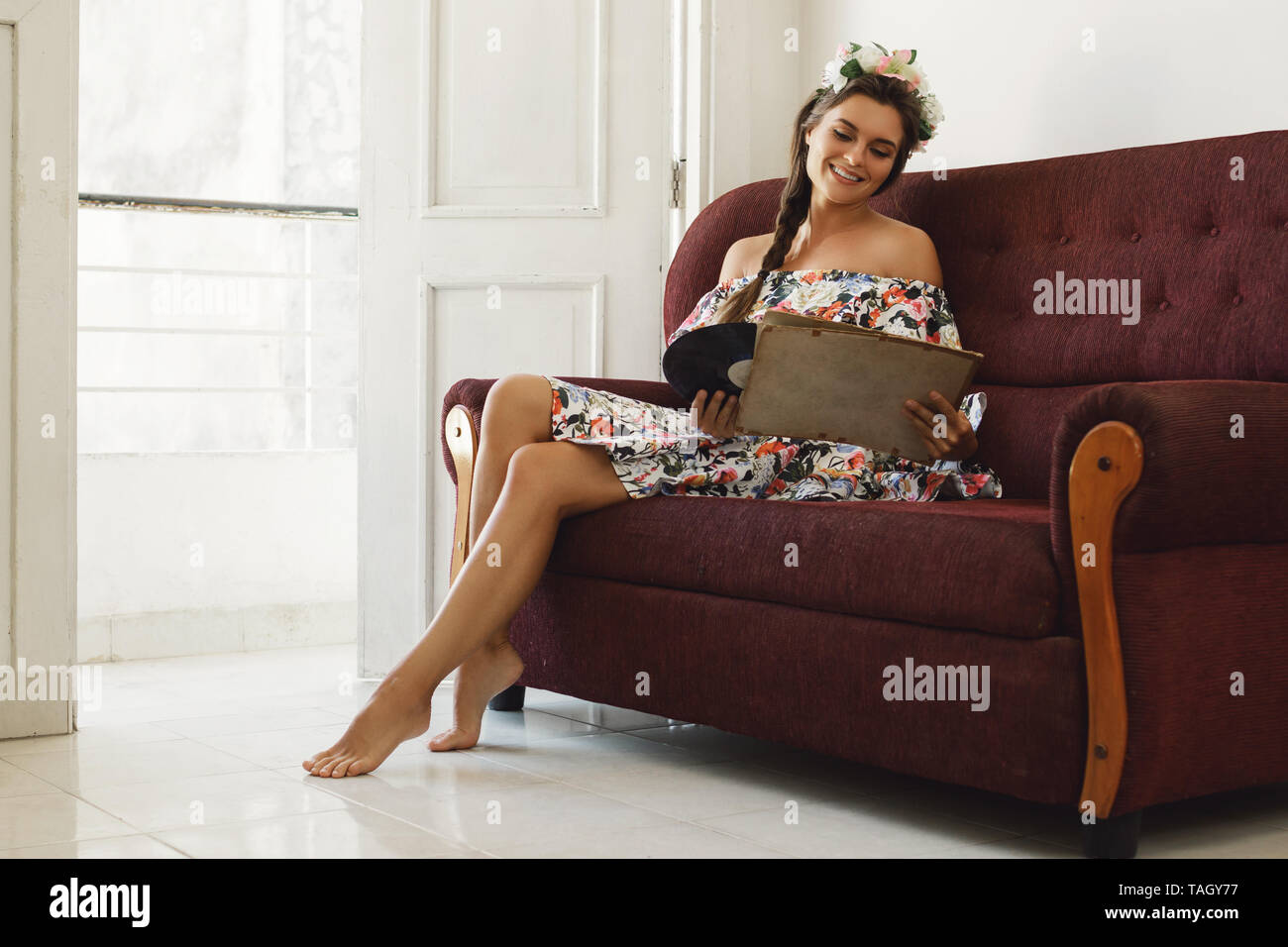 Old Woman Sitting Alone Sofa Stock Photos Old Woman Sitting